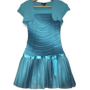 BCX girl Glitter Teal Drop Waist Formal Dress